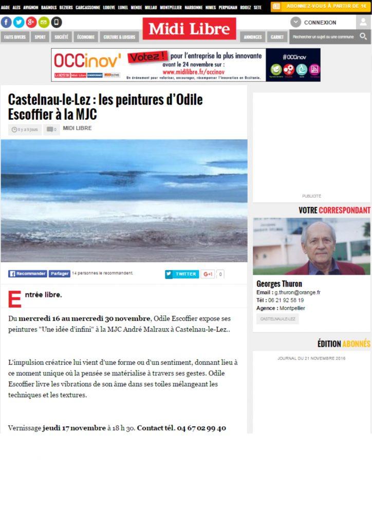 Castelnau-le-Lez : les peintures d'Odile Escoffier à la MJC
